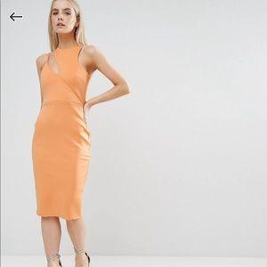Gorgeous cut out neck asymmetric dress